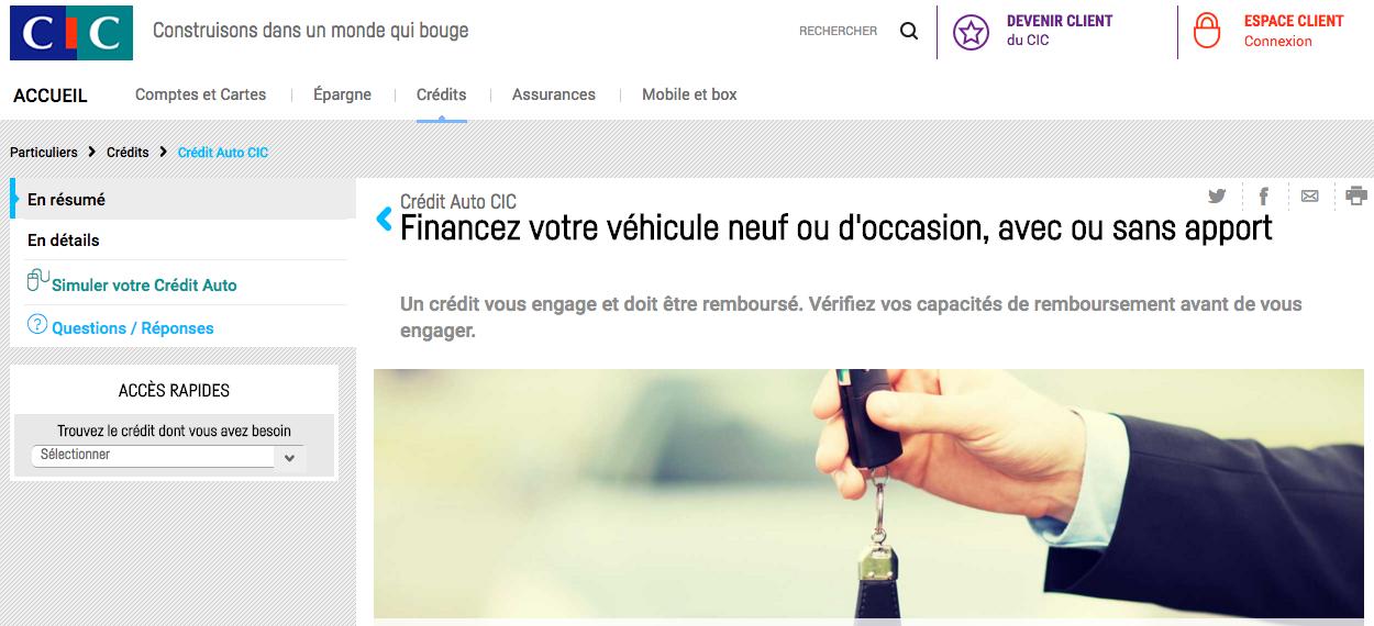 credit auto CIC